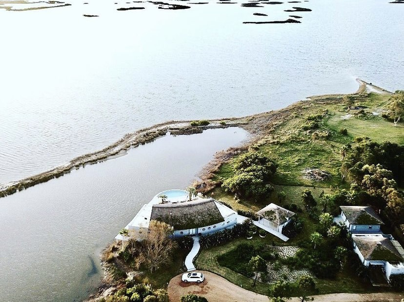 Aerial Mario Connio House on the Lagoon near Jose Ignacio