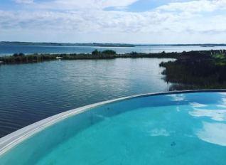 Pool and Lagoon of Mario Connio House on the Lagoon near Jose Ignacio