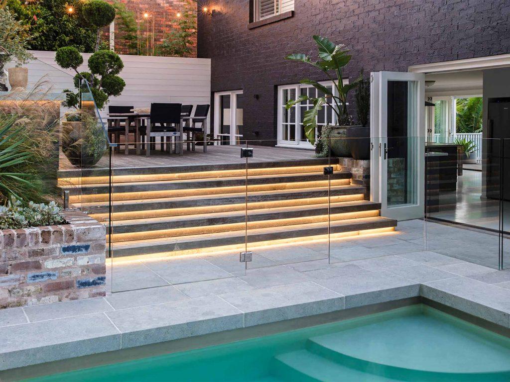strip lighting stairs backyard