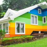house exterior painted in bright colors