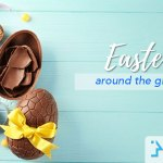 Egg-shapped chocolates with easter ornaments