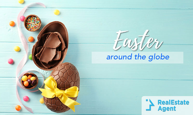 Egg shapped chocolates with easter ornaments