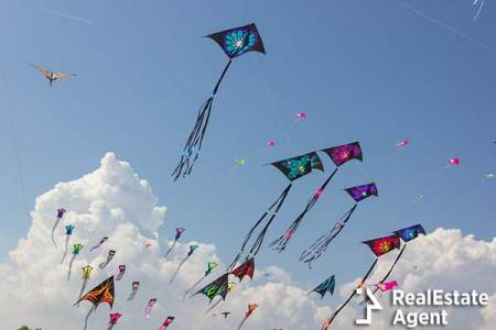 Kites flying in the sky in Bermuda during easter