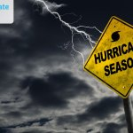 Warning side with Hurricane Season gets hit by a lightining with a dark sky as background