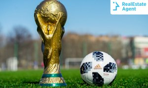 FIFA World Cup and a football on the soccer field