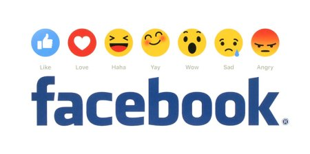 facebook and emojis on white