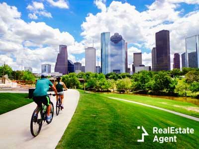 Family riding bike in Houston
