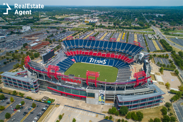 Bridgestone Arena view from Nashville TN