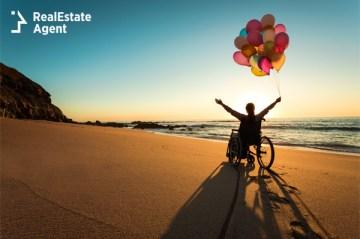 handicapped man on a wheelchair at beach