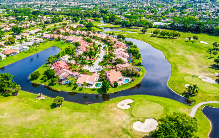 boca raton expensive area with a lake and homes