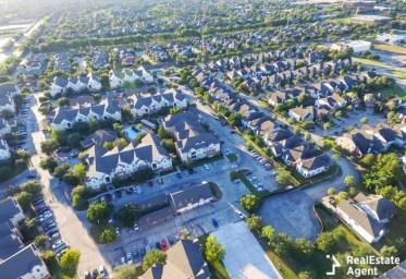aerial multi level apartment building