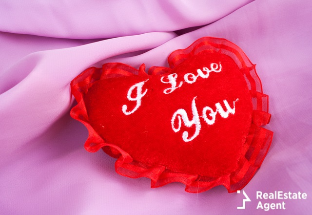 valentine heart pillow with i love you words