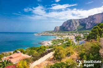 panoramic view of mondello bay in palermo