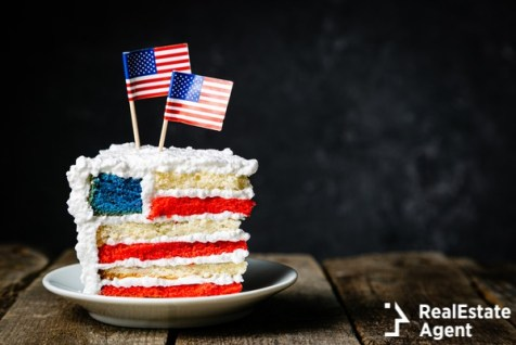 spounge cake in usa flag colours