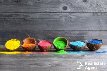 bright colors in coconut shells