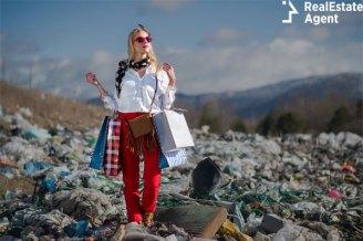 Woman posing in a trash field
