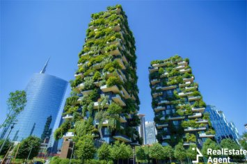 Futuristic residential complexes in Milan, Italy
