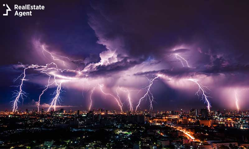 Lightning storm over city