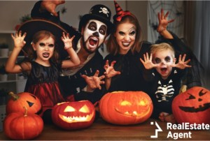 happy family costumes and make-up celebrating halloween