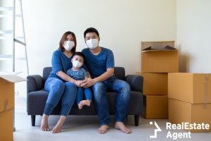 asian family wearing medical mask
