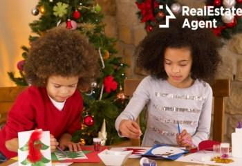 kids making christmas cards