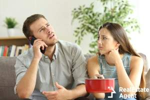desperate couple calling to insurance