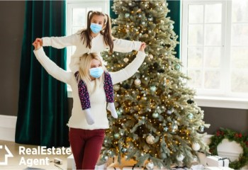 family in protective masks quarantined