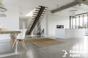 open floor apartment staircase