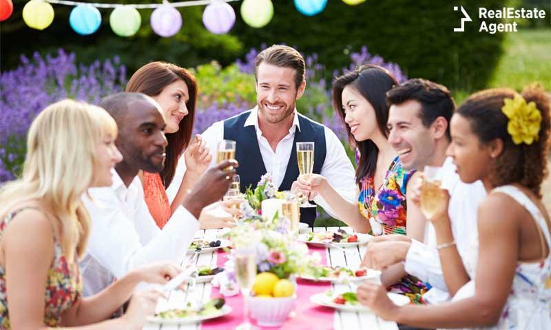 Group of friends enjoying outdoor dinner