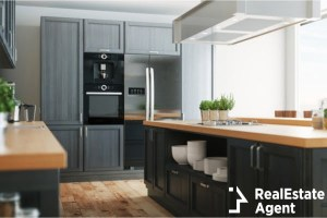 modern kitchen with parquet