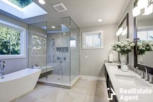 spacious bathroom in grey tone