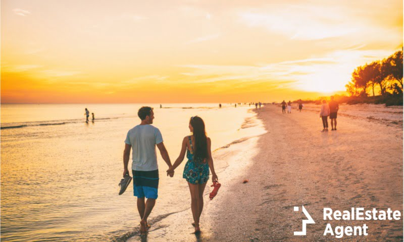 happy couple on a beach