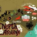 illustrated map of north carolina usa