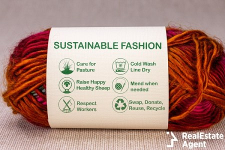 Sustainable fashion label on ball of wool