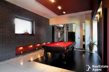 Interior living room snooker table