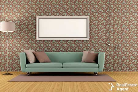 Living room with vintage wallpaper