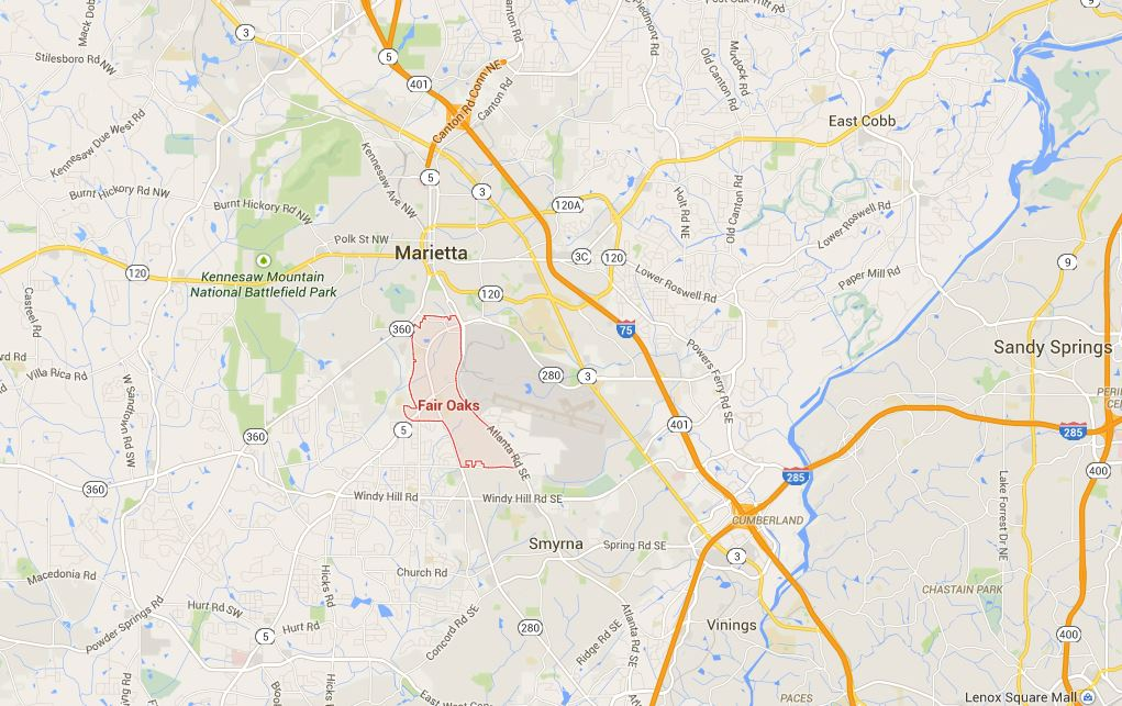 City Of Fair Oaks Cobb County GA Map
