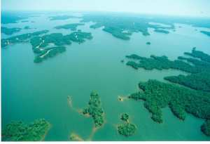 Aerial view of Lake Martin neighborhoods.