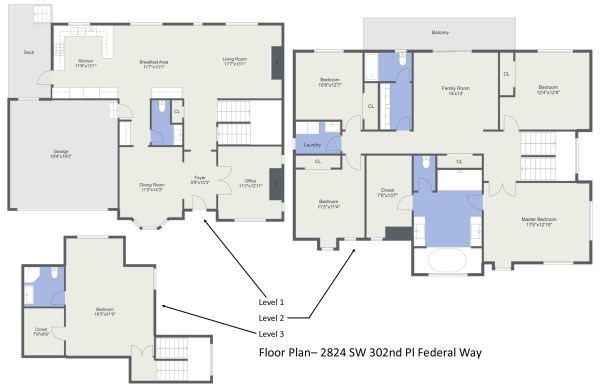FLOORPLAN Laurie Way Announces | Dumas Bay - Federal Way | 2824 SW 302nd Place, Federal Way WA 98023
