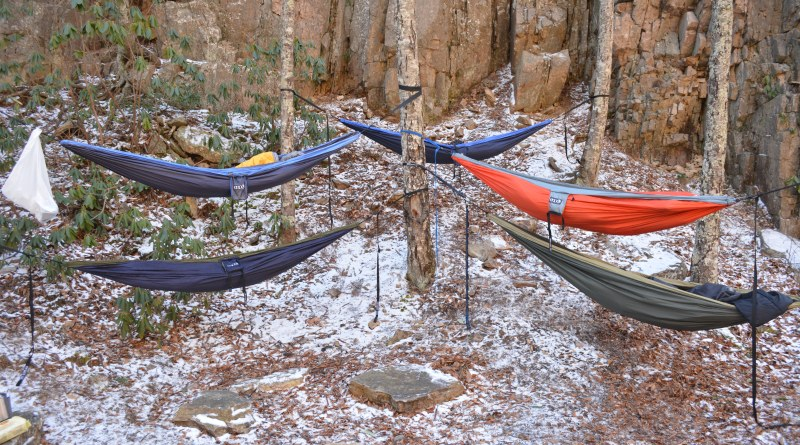 Group winter hammock camping