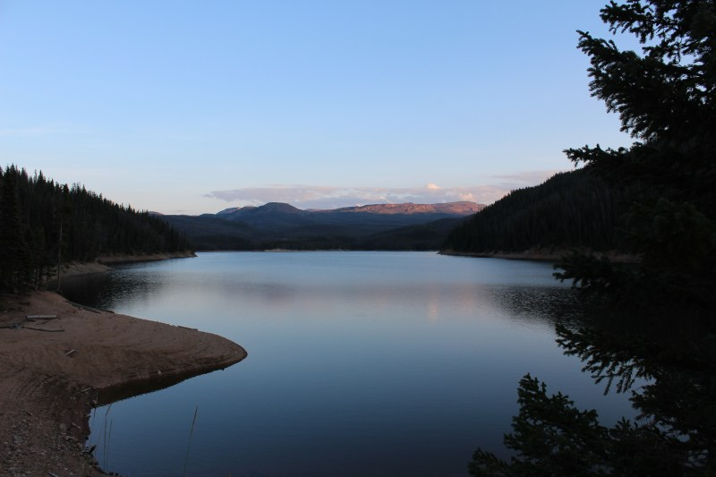 Surreal scene of Chambers Lake at the entrance to the wilderness area