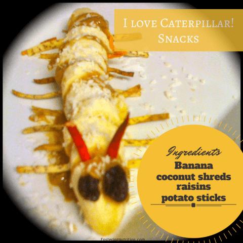 Healthy banana snack; Caterpillar