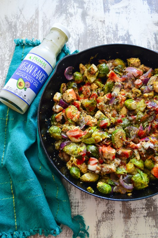 Buffalo Chicken Bacon Ranch Skillet With Roasted Brussels Sprouts