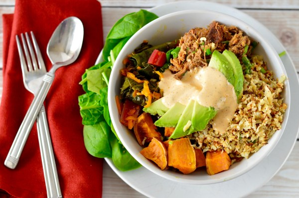 The Bowl of Crazy | Real Food with Dana | Inspired by the dish from Blooming Beets Restaurant in Boulder, this dish is made of delicious slow cooked pulled pork, a rainbow chard and carrot hash, cauliflower rice, roasted sweet potato wedges, and a smoky aioli to top it all off!