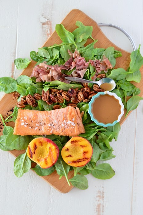Honey Balsamic Salmon & Grilled Peach Salad with Prosciutto & Candied Pecans | Real Food with Dana