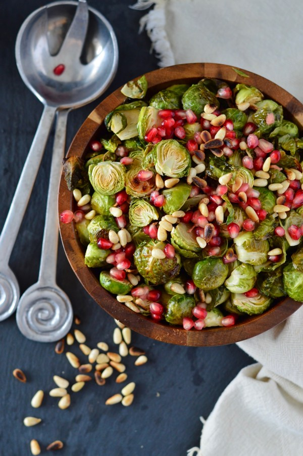 Brussels Sprouts with Toasted Pine Nuts & Pomegranate | Real Food with Dana