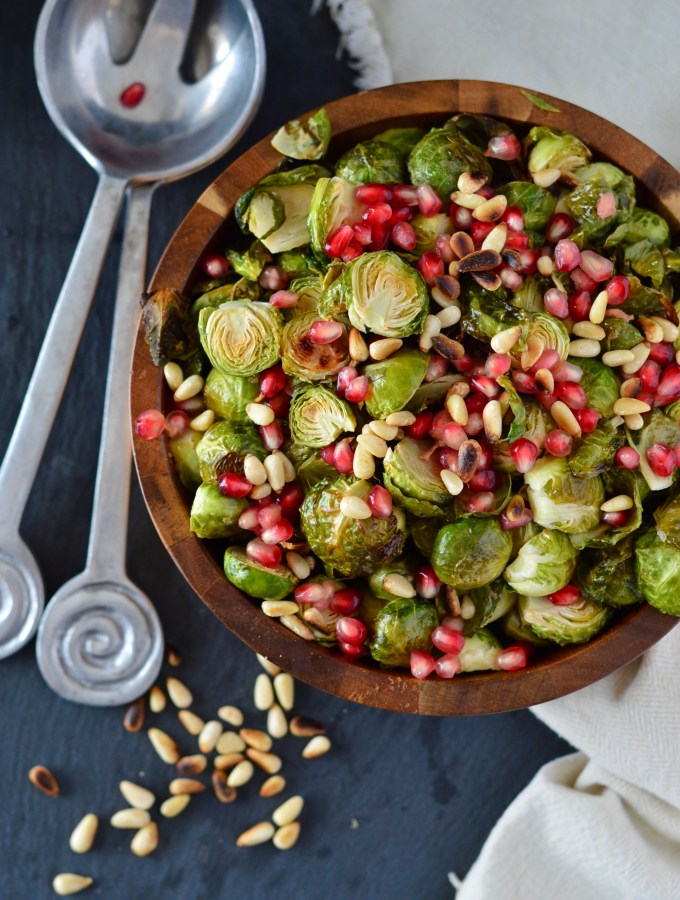 Brussels Sprouts with Toasted Pine Nuts & Pomegranate