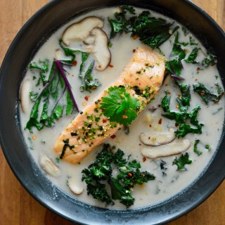 Thai Coconut Soup with Salmon & Kale