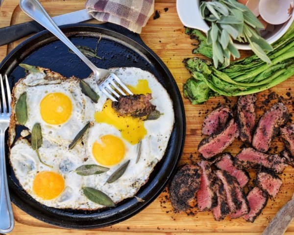 Kona Crusted Steak & Sage Fried Eggs (on the grill!) | The Castaway Kitchen