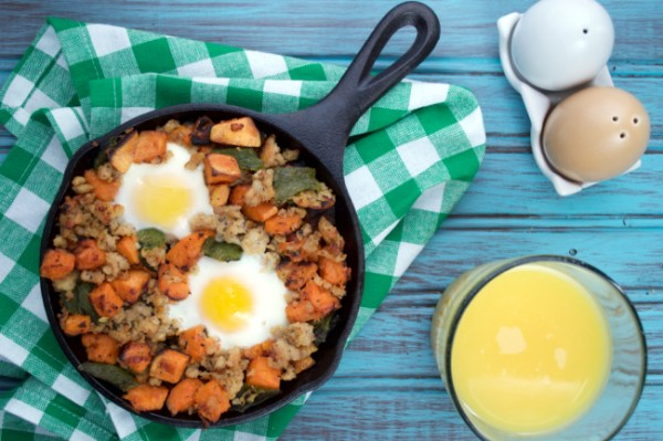 Roasted Poblano, Sausage & Sweet Potato Hash | Plaid & Paleo